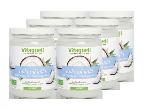 6 x Kokosöl Bio, mild, geschmacksneutral, 400 g
