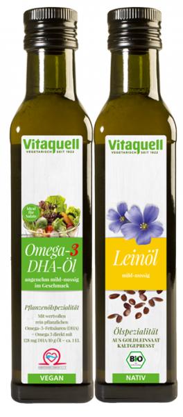 Omega 3 DHA Öl und Leinöl Goldleinsaat Bio