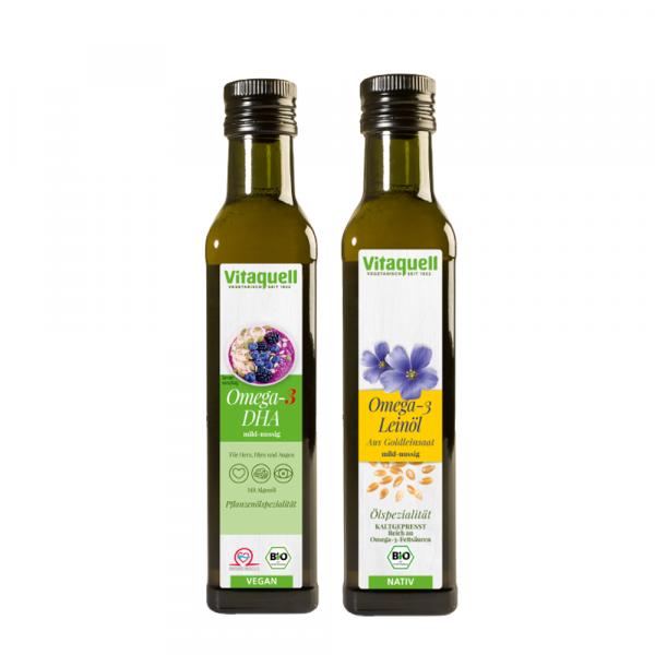 Omega 3 DHA Öl, 250 ml + Leinöl Goldleinsaat Bio, nativ 250 ml