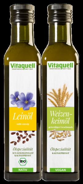Weizenkeimöl, 1. Pressung 250 ml + Leinöl Goldleinsaat Bio, nativ 250 ml